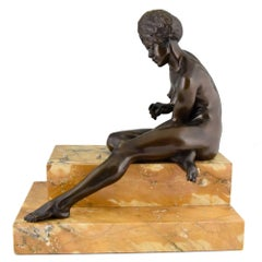 Art Deco Bronze Sculpture African Nude by Clarisse Levy Kinsbourg, 1930, France