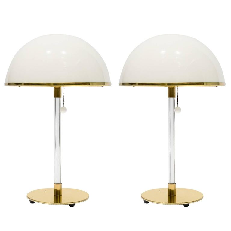 Pair of 1970s Lucite Lamps with Plastic Shades