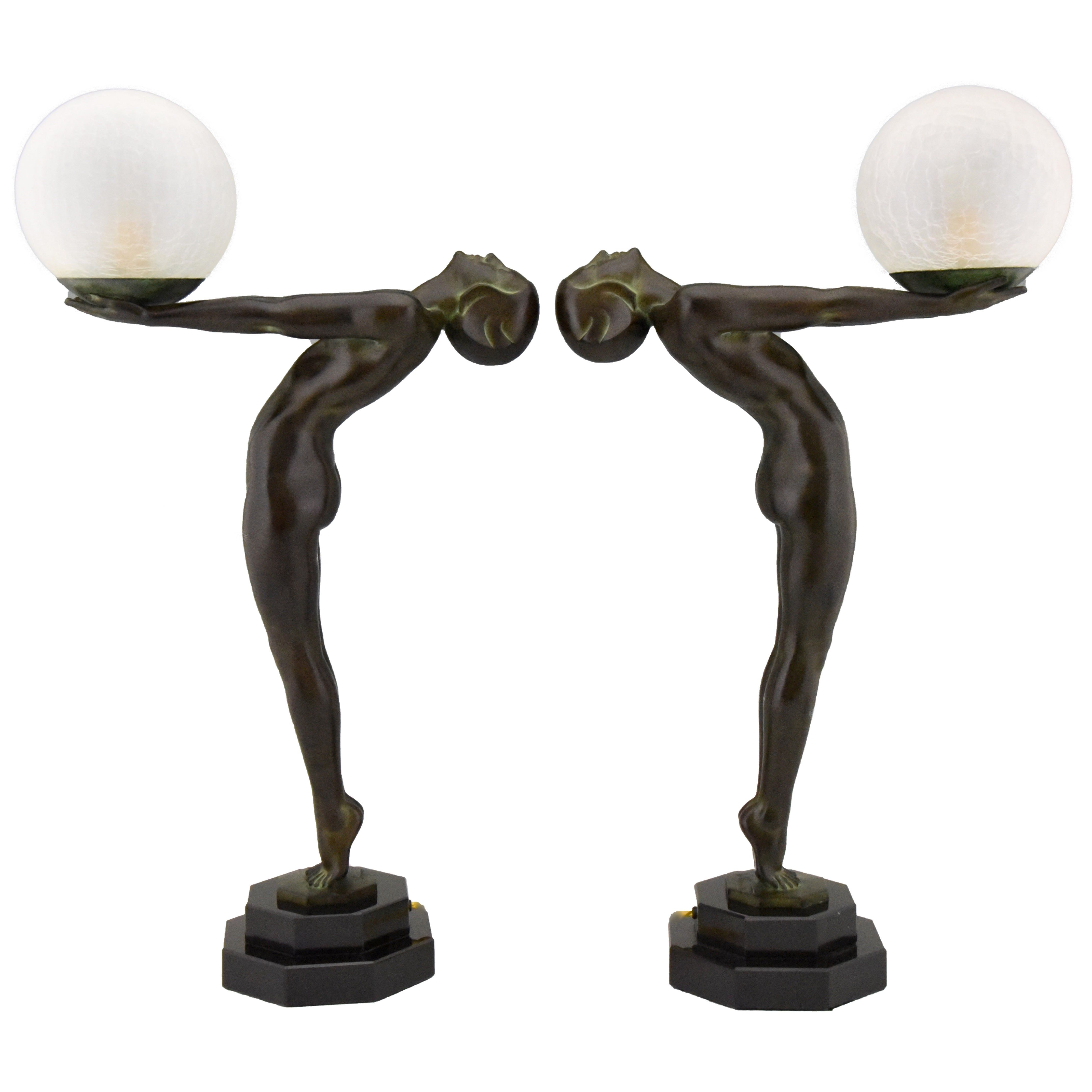 Pair of Art Deco Style Lamps Lumina Standing Nude Sculpture Max Le Verrier