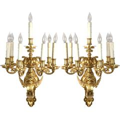 A pair of French Beaux Arts Ormolu Sconces
