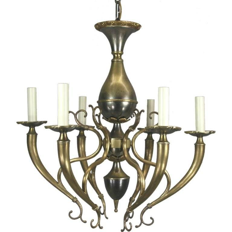 Mid Century Italian Two-Tone Chandelier For Sale