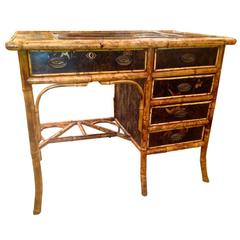 19th Century English Bamboo Chinoiserie Lacquered Desk