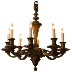 Small French 1940s Bronze Chandelier