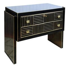 Commode in Black Mirror and Brass.
