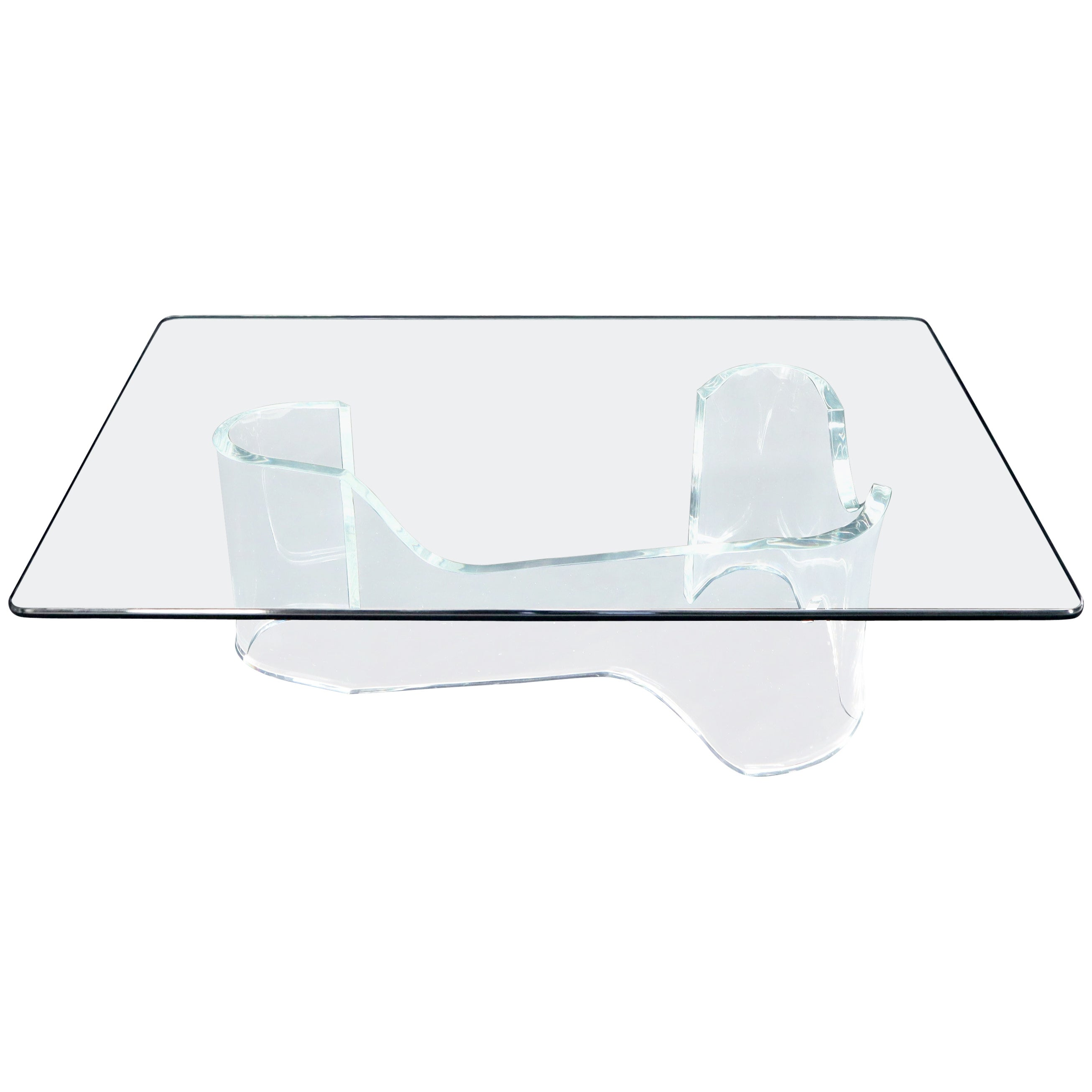 Thick Bent Lucite Organic Shape Base Rectangle Glass top Coffee Table