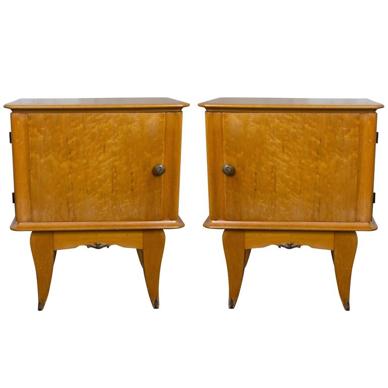 Pair of French 1940's Bird's-Eye Maple Nightstands For Sale