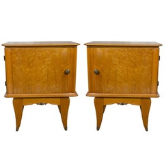 Pair of French 1940's Bird's-Eye Maple Nightstands