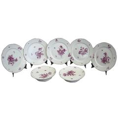 Pair Wedgwood Floral Cake Stands and Five Plates