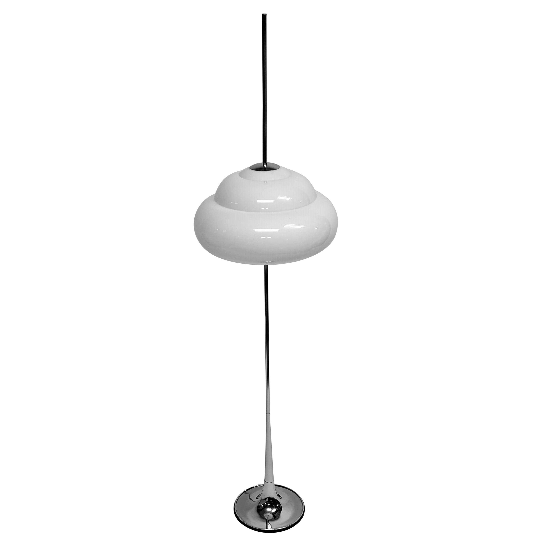 1970s Reggiani Chrome Floor Lamp with Opale Acrylic Shade, Italy