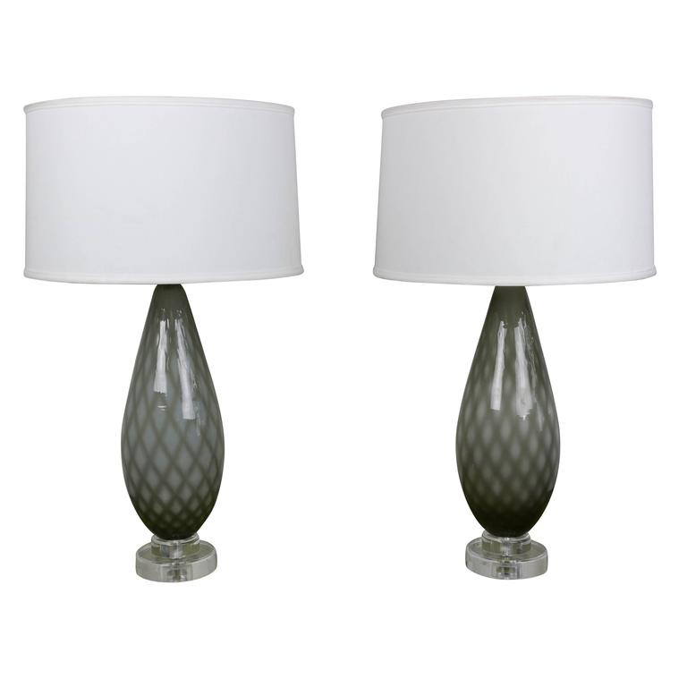 Pair of grey and white murano table lamps for sale at 1stdibs pair of grey and white murano table lamps for sale aloadofball Gallery