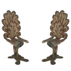 19th Century Venetian Polychromed Peacock Tête-à-tête