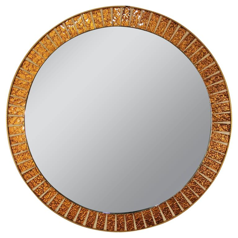 Spanish 1960s  Iridiscent Orange Mosaic Glass Circular Mirror