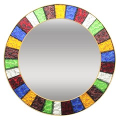 Spanish 1960s Mid-Century Modern Colorful Glass Framed Circular Mirror