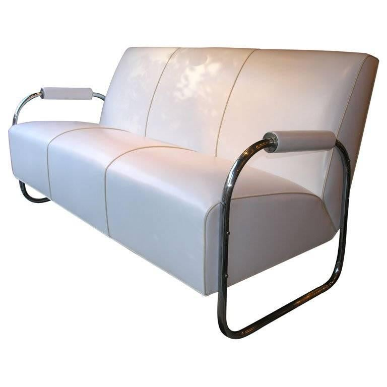Art Deco Machine Age Streamline Sofa in Chrome and Leather by Gilbert Rohde 1