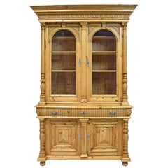 Large Pine Belle Époque Bookcase or Buffet from Bohemia, c. 1880