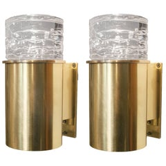 Scandinavian Modern Polished Brass Cylindrical Sconces with Solid Crystal Tops