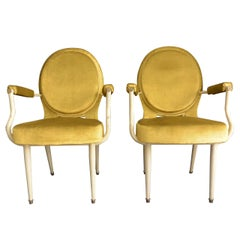 Pair Louis XVI Style Armchairs in Yellow Velvet