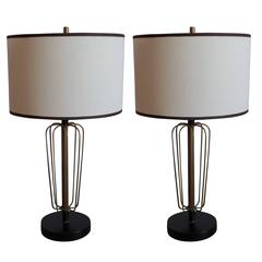 Pair of French Midcentury Wire Sphere Table Lamps