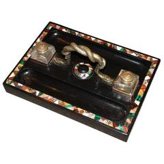 Regency Pietra Dura Inkstand with Malachite for a Partner's Desk