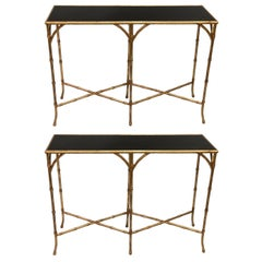 Two French Midcentury Gilt Iron Faux Bamboo Consoles, Maison Baguès