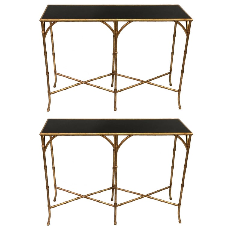 Two French Mid-Century Modern Gilt Iron Faux Bamboo Consoles, Maison Baguès