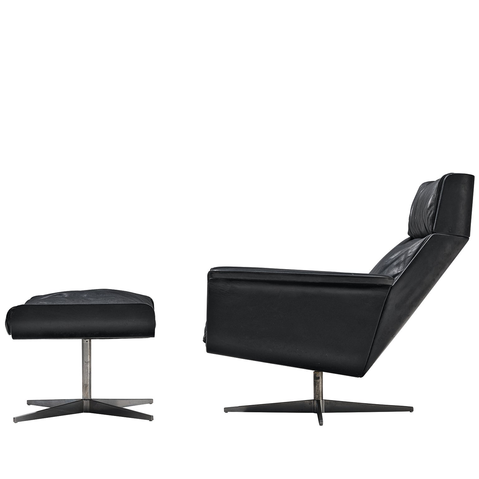 Modernist Swivel Lounge Chair with Ottoman in Black Leather
