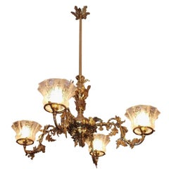 American Brass Floral Gasolier with Original Frosted Globes, Circa 1860