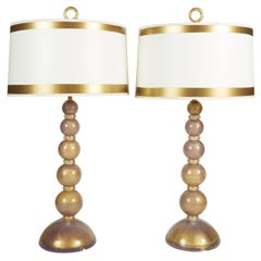 Pair of Heavy Gold and Lavender Mid-Century Murano Glass Lamps