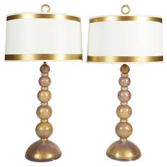 Pair of Barovier Heavy Gold and Lavender Mid-Century Murano Glass Lamps