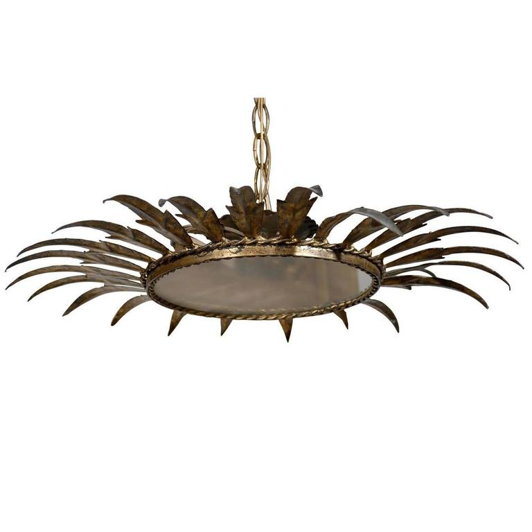 Spanish Vintage Gilt Metal Crown Shaped Light Fixture with Frosted Glass