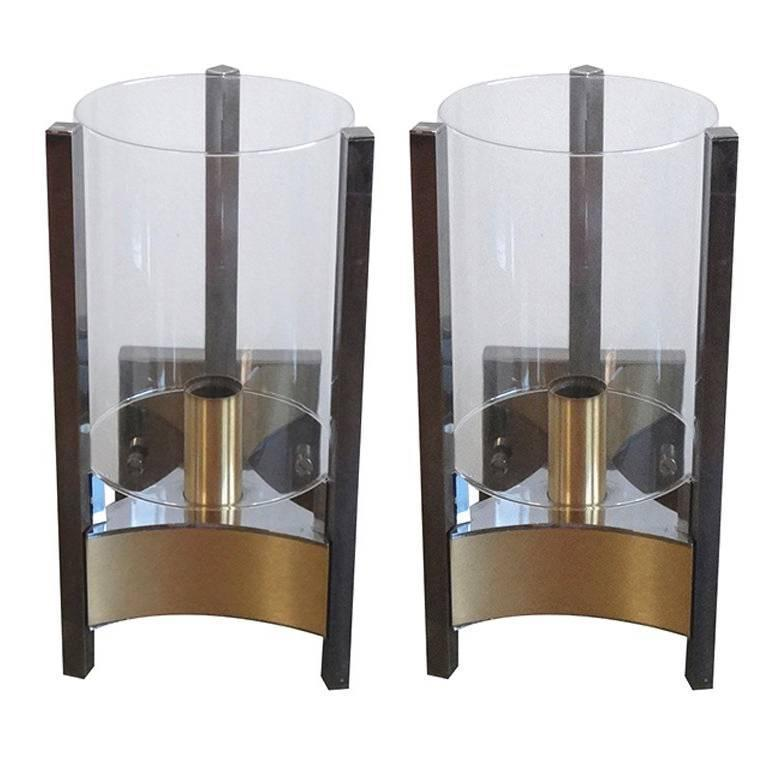 Pair of brass, chrome and glass Sciolari sconces, Italy, 1970s