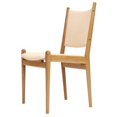 White Oak And Leather Dining Chairs By Hans Wegner