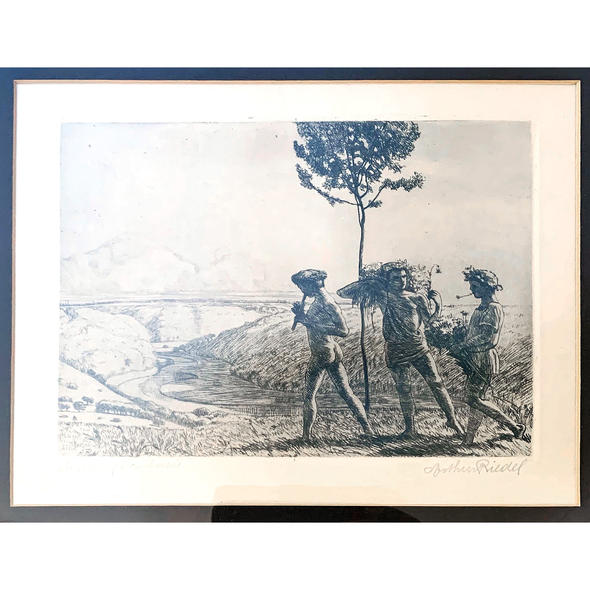 """""""Summer Fantasy,"""" Rare Print with Bucolic Scene and Nude Figures by Riedel"""