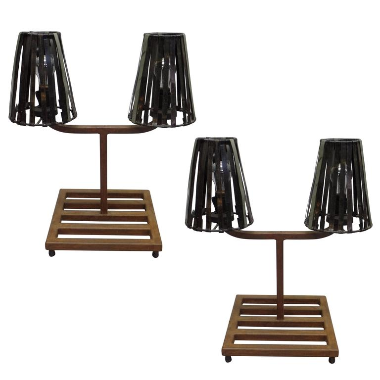 Unique Pair of French Mid-Century Industrial Table Lamps in Style Jean Prouve