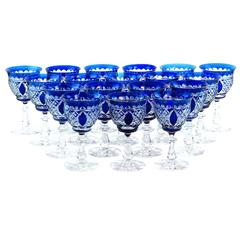 18 Val St. Lambert Cobalt Blue Water Goblets, Stemware