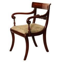 Early 19th Century, English Regency, Mahogany Open Armchair