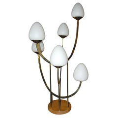 Large Brass Table Lamp with Multiple Globes in the Style of the Laurel Lamp Co.