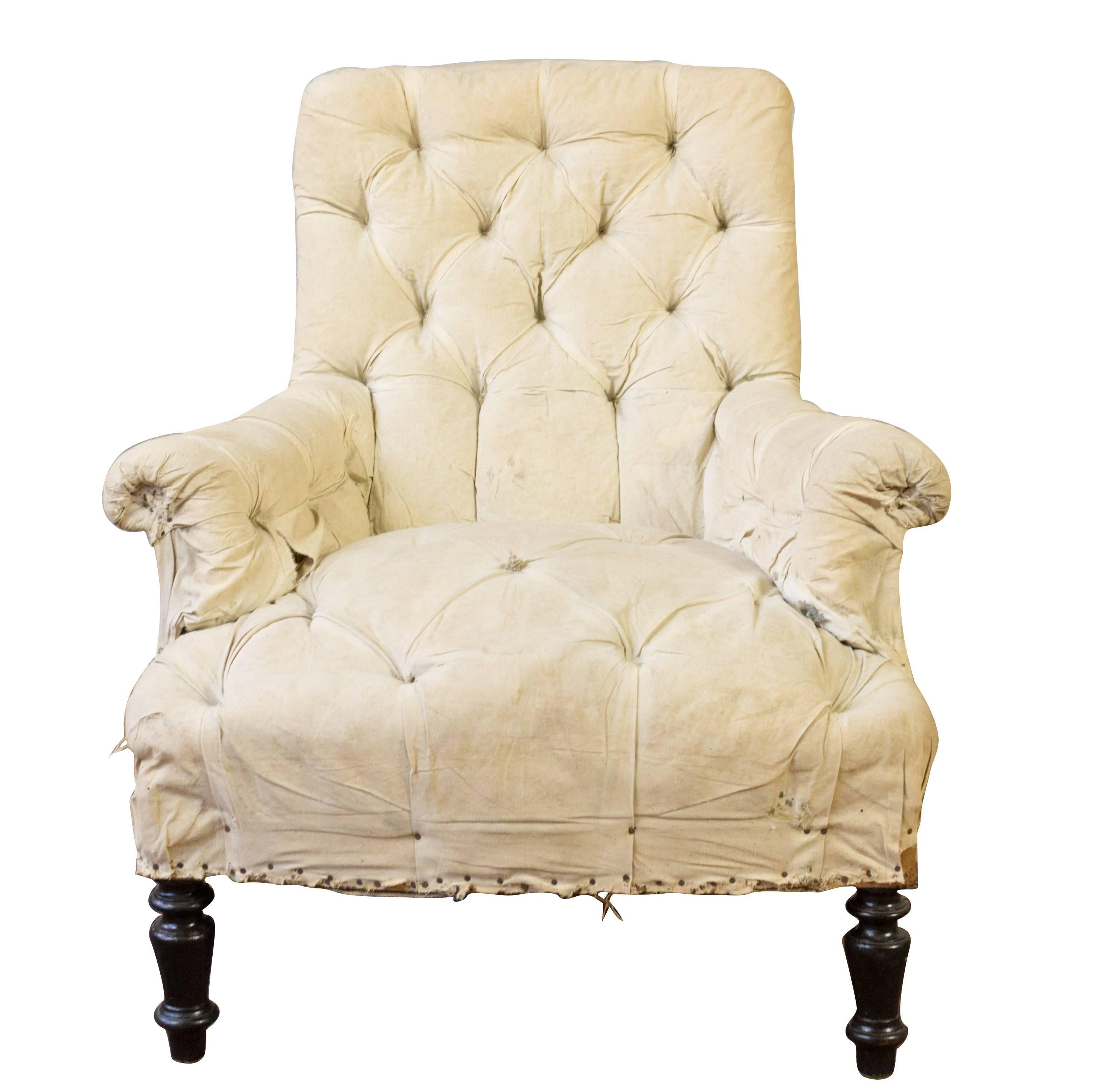 Single 19th Century Tufted French Armchair For Sale