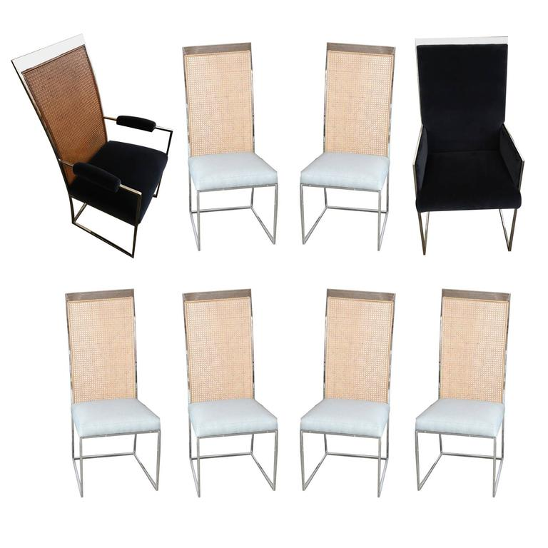 Mid Century Modern S/8 Milo Baughman New Fabric Chrome & Cane Back Dining Chairs