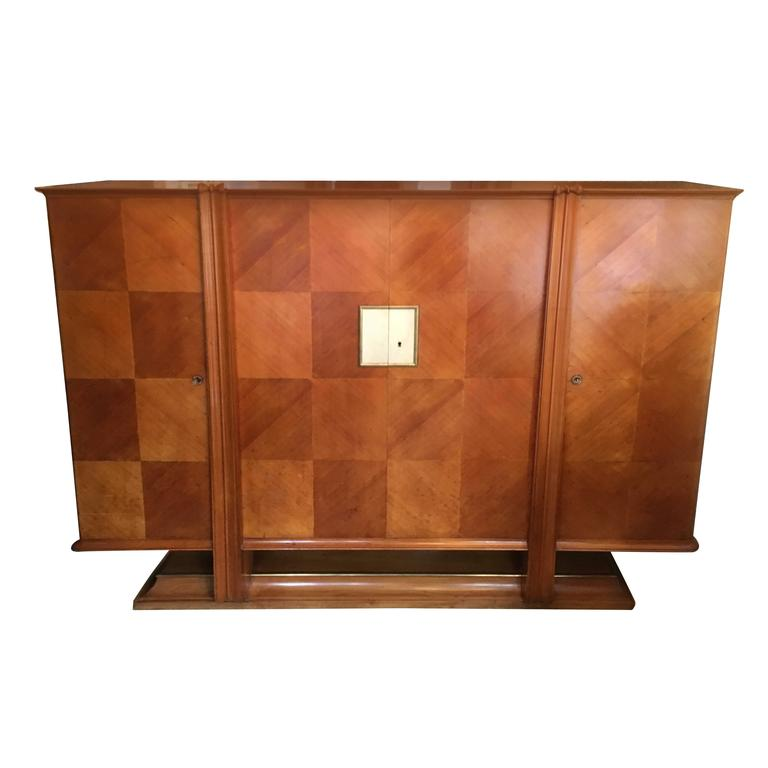 Rare Andre Arbus Cabinet with Brass and Parchment Trim, circa 1940