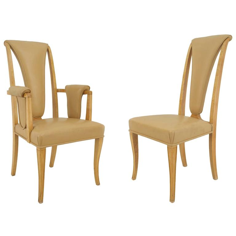 Set Of Eight English Art Deco Maple High Back Dining Chairs By S. Hille U0026