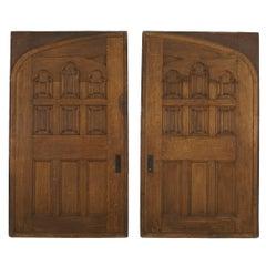 Pair of English Victorian Gothic Revival Oak Doors