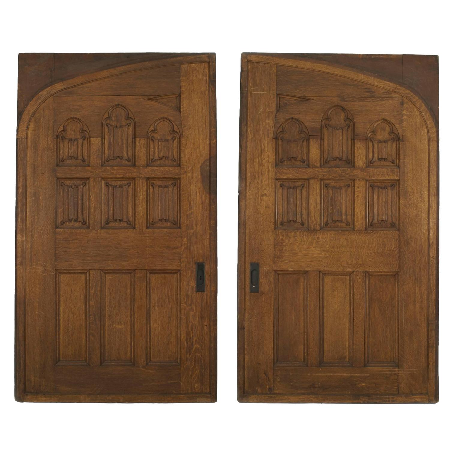 Pair Of English Gothic Revival Oak Pocket Doors For Sale