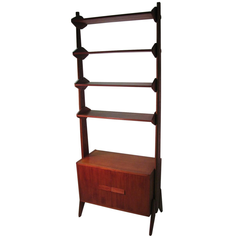 mid century scandanavian modern shelving unit at 1stdibs. Black Bedroom Furniture Sets. Home Design Ideas