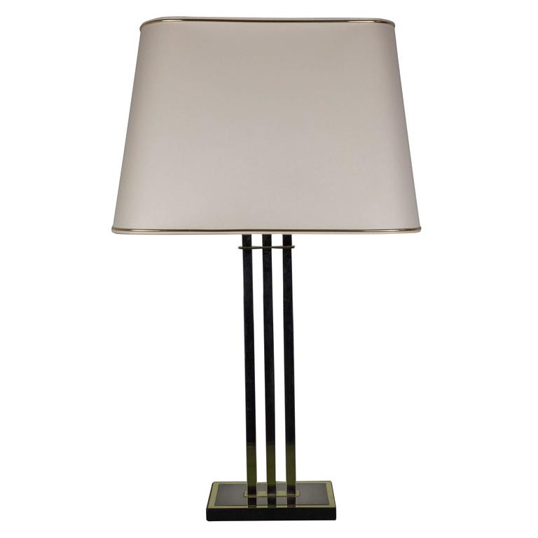 french modernist three column brass and wood table lamp for sale at 1stdibs. Black Bedroom Furniture Sets. Home Design Ideas