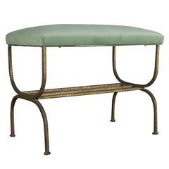 Spanish 1940s Gilt Iron Bench with Sage Green Velvet