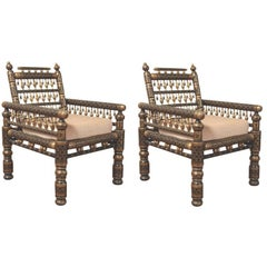 Pair of Indian Painted Wedding Armchairs