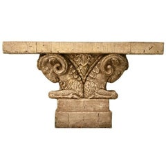 "Console Table in Faux Stone ""Rams Head"""