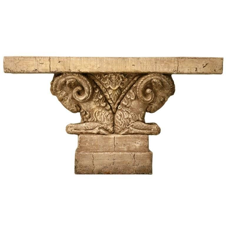 Console Table In Faux Stone Quot Rams Head Quot For Sale At 1stdibs