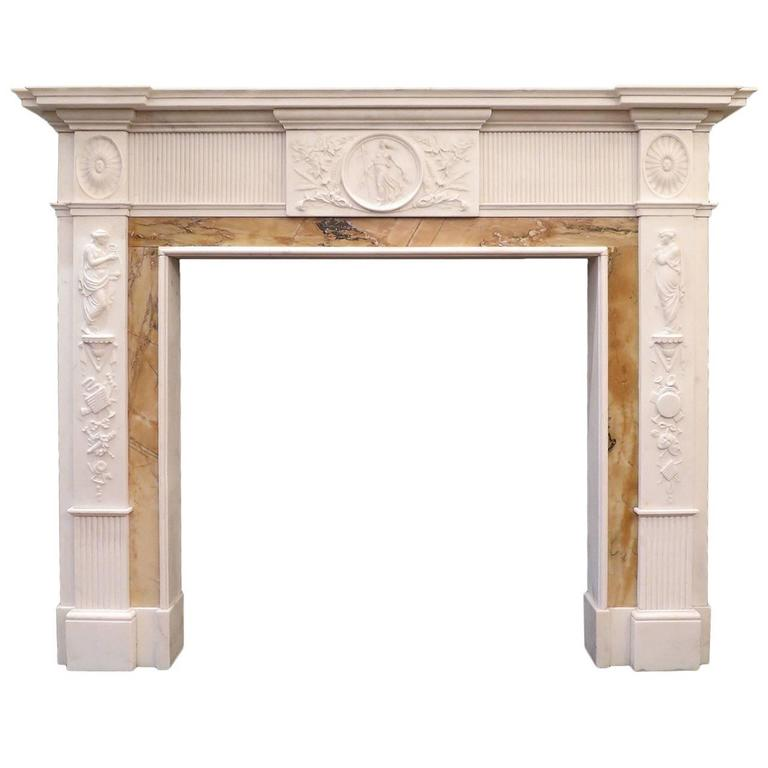 antique 19th century neoclassical marble fireplace mantel